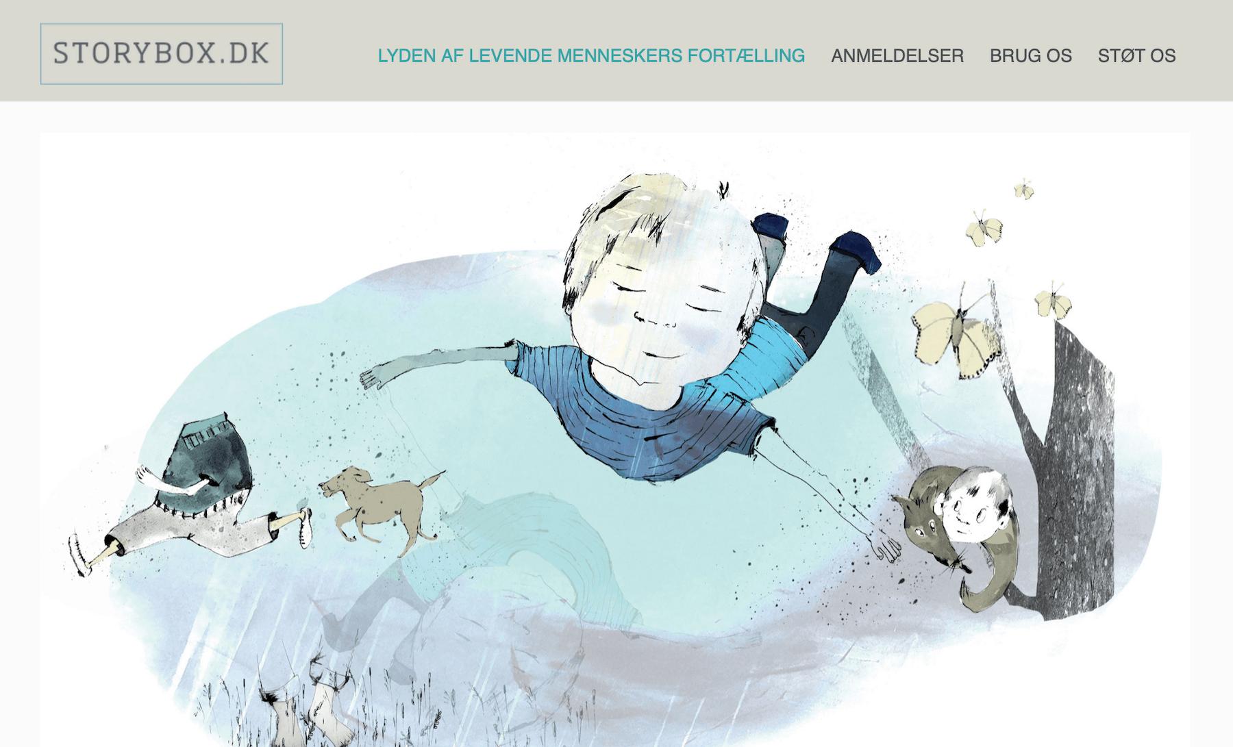 Storybox.dk forside – Danmarks første internetforlag for mundtlig fortællekunst